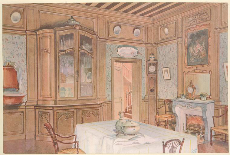 Salle a manger Louis XV de campagne en chêne.... [Dining room with china cabinet.] (1907).jpeg