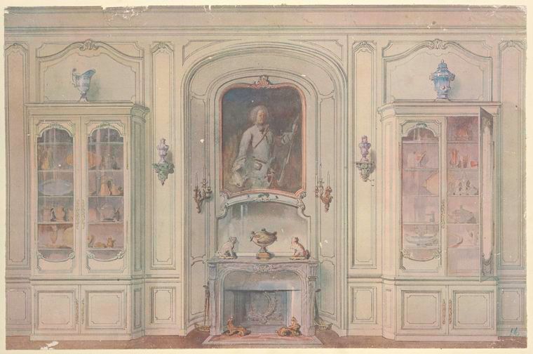 Salle a manger Louis XV, montrant la niche.... [Dining room china cabinets, fireplace.] (1907).jpeg