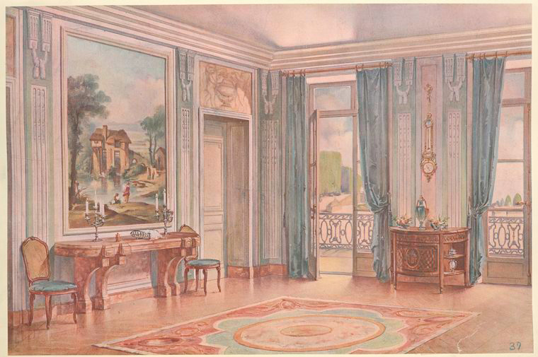Salle a manger Louis XVI (style de Neufforge).... [Corner detail of a dining room.] (1907).jpeg