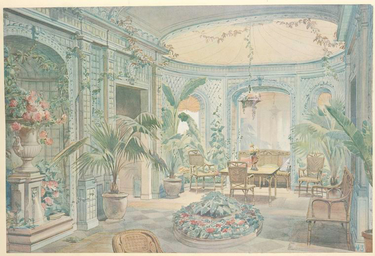 Serre en treillage, blue vert clair (Louis XVI).... [Conservatory, greenhouse, with palms and flowers.] (1907).jpeg